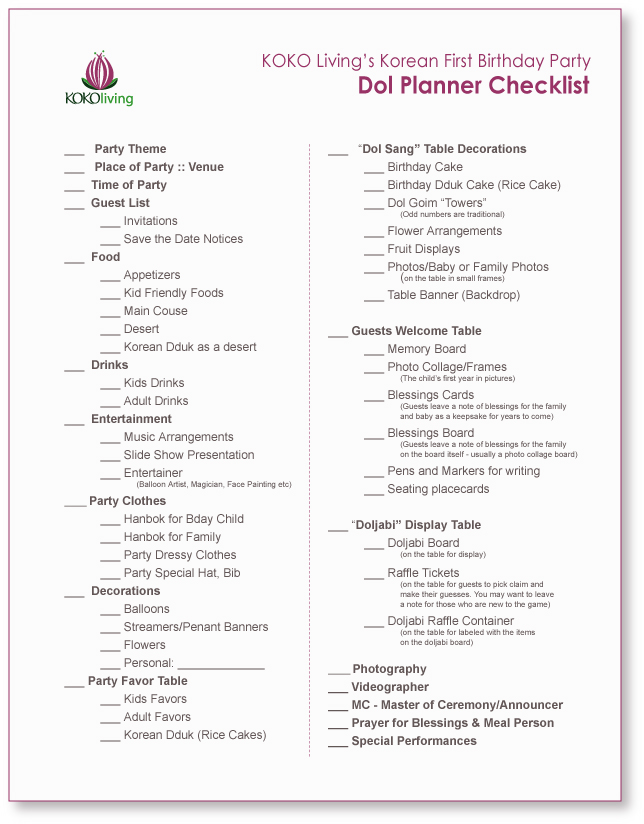 graphic relating to 1st Birthday Party Checklist Printable named KOKO Livings Dol Planner Specialist :: A Korean Very first Birthday
